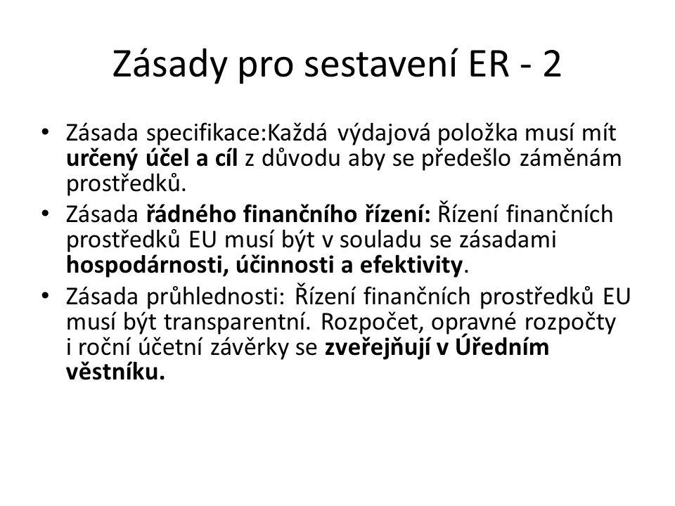 Zásady pro sestavení ER - 2 Zásada specifikace:Každá výdajová položka musí mít určený účel a cíl z důvodu aby se předešlo záměnám prostředků.