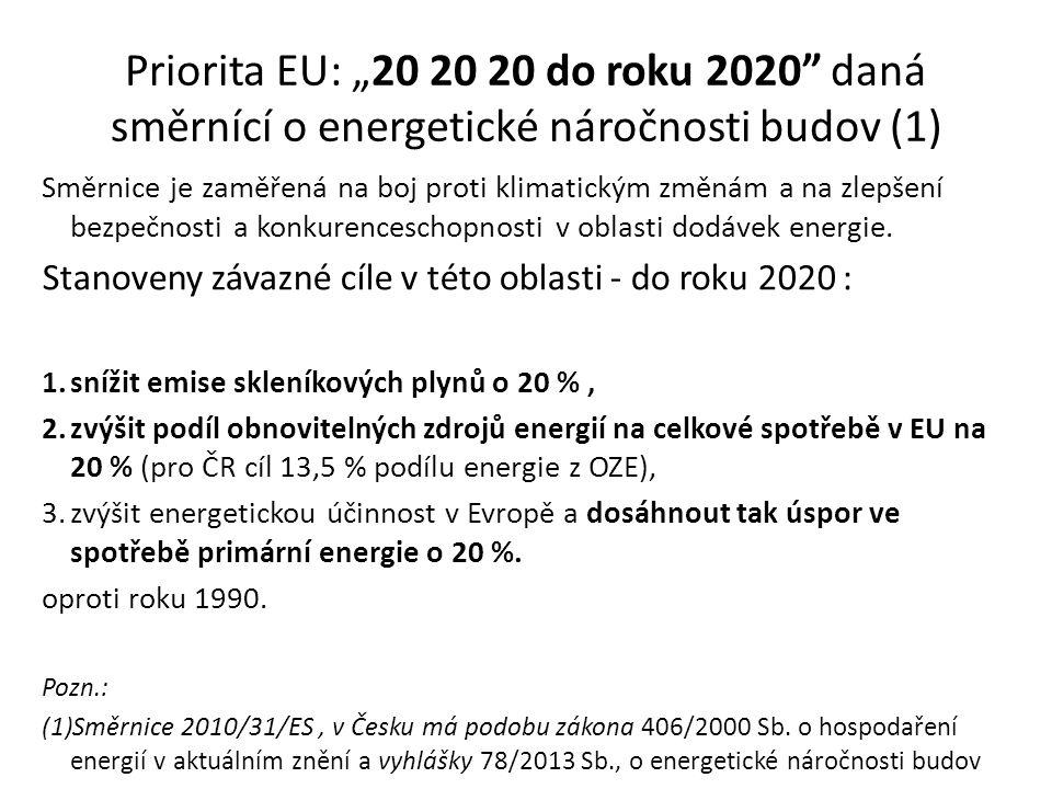 """Priorita EU: """"20 20 20 do roku 2020 daná směrnící o energetické náročnosti budov (1) Směrnice je zaměřená na boj proti klimatickým změnám a na zlepšení bezpečnosti a konkurenceschopnosti v oblasti dodávek energie."""