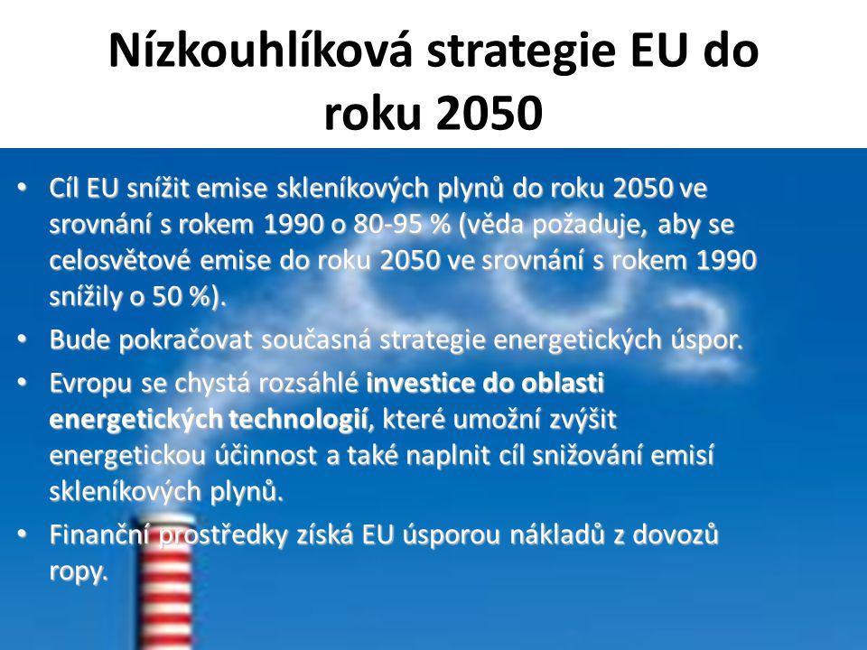 Nízkouhlíková strategie EU do roku 2050 Cíl EU snížit emise skleníkových plynů do roku 2050 ve srovnání s rokem 1990 o 80-95 % (věda požaduje, aby se celosvětové emise do roku 2050 ve srovnání s rokem 1990 snížily o 50 %).