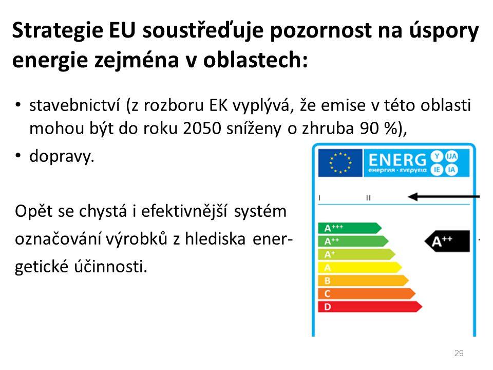 stavebnictví (z rozboru EK vyplývá, že emise v této oblasti mohou být do roku 2050 sníženy o zhruba 90 %), dopravy.