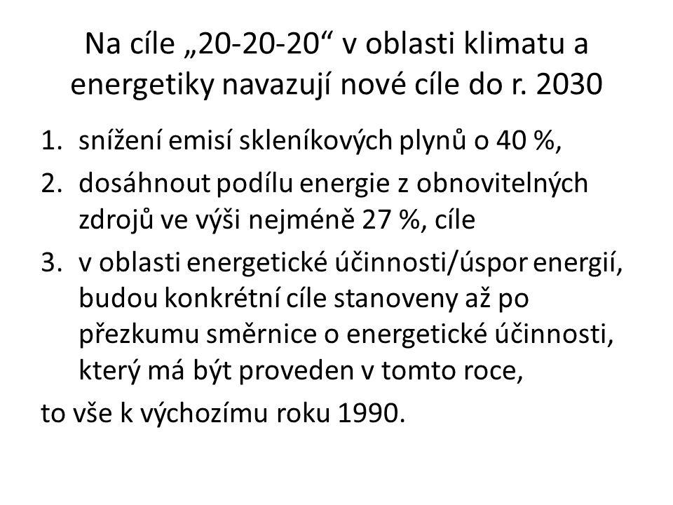 """Na cíle """"20-20-20 v oblasti klimatu a energetiky navazují nové cíle do r."""