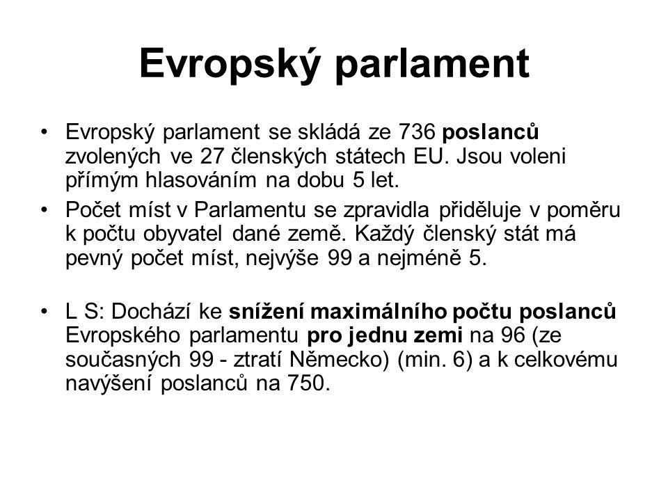 Evropský parlament Evropský parlament se skládá ze 736 poslanců zvolených ve 27 členských státech EU.