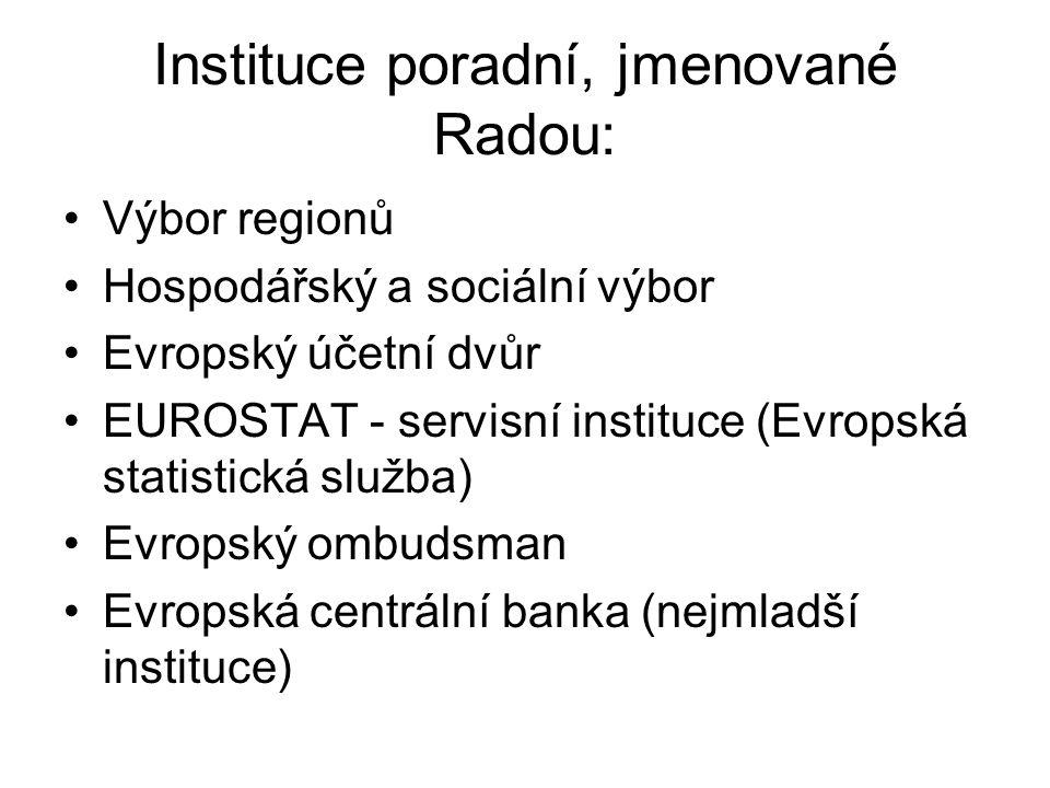Instituce poradní, jmenované Radou: Výbor regionů Hospodářský a sociální výbor Evropský účetní dvůr EUROSTAT - servisní instituce (Evropská statistická služba) Evropský ombudsman Evropská centrální banka (nejmladší instituce)