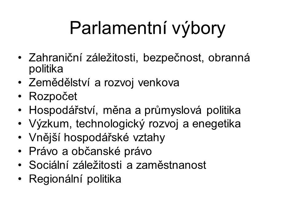 Parlamentní výbory Zahraniční záležitosti, bezpečnost, obranná politika Zemědělství a rozvoj venkova Rozpočet Hospodářství, měna a průmyslová politika Výzkum, technologický rozvoj a enegetika Vnější hospodářské vztahy Právo a občanské právo Sociální záležitosti a zaměstnanost Regionální politika