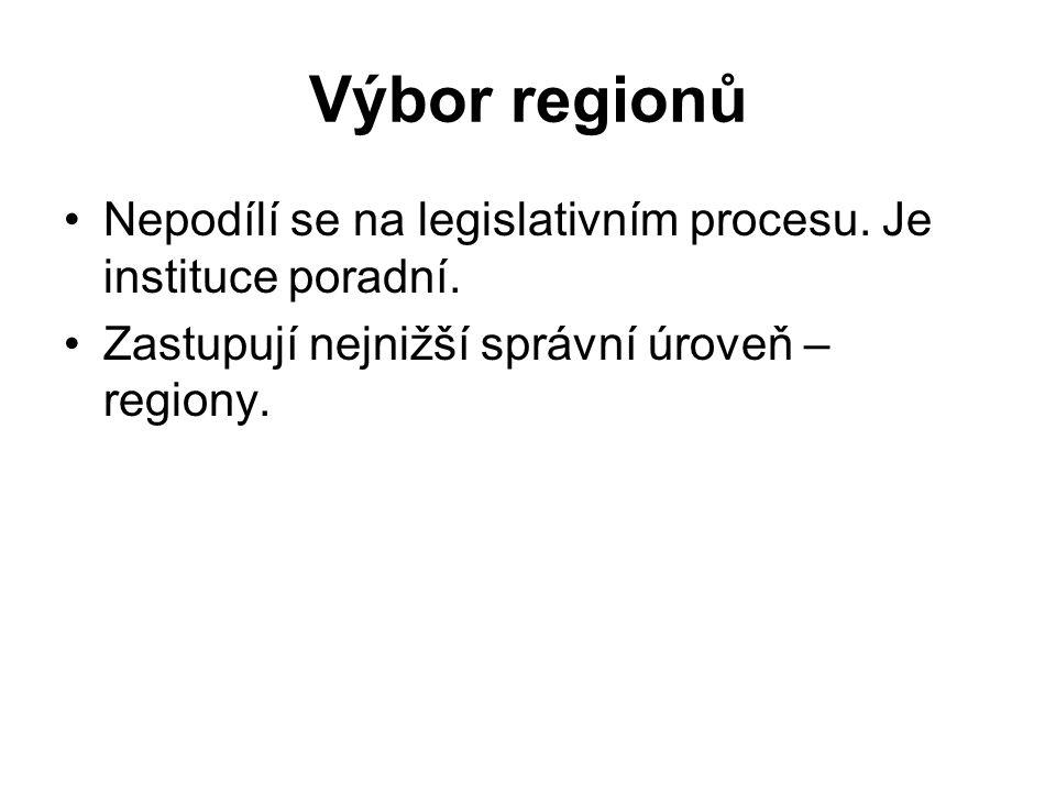 Výbor regionů Nepodílí se na legislativním procesu.