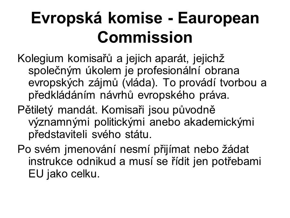 Evropská komise - Eauropean Commission Kolegium komisařů a jejich aparát, jejichž společným úkolem je profesionální obrana evropských zájmů (vláda).