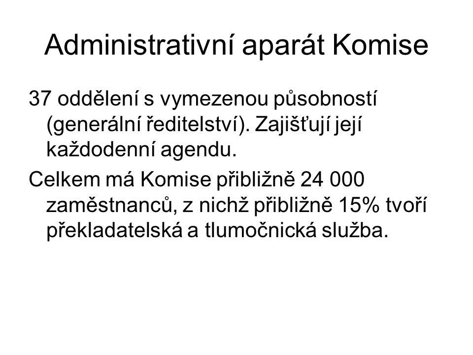 Administrativní aparát Komise 37 oddělení s vymezenou působností (generální ředitelství).