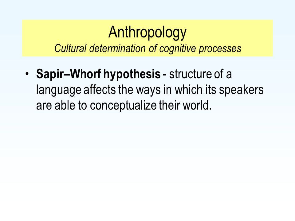 Anthropology Cultural determination of cognitive processes Sapir–Whorf hypothesis - structure of a language affects the ways in which its speakers are
