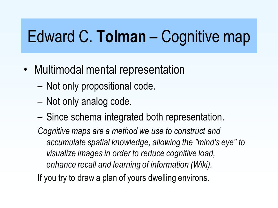 Neisser s cycle of perception Cognitive Ecology Object available information Schema of environment Exploration Directs Samples Modify Actual world Cognitive map Locomotion and action