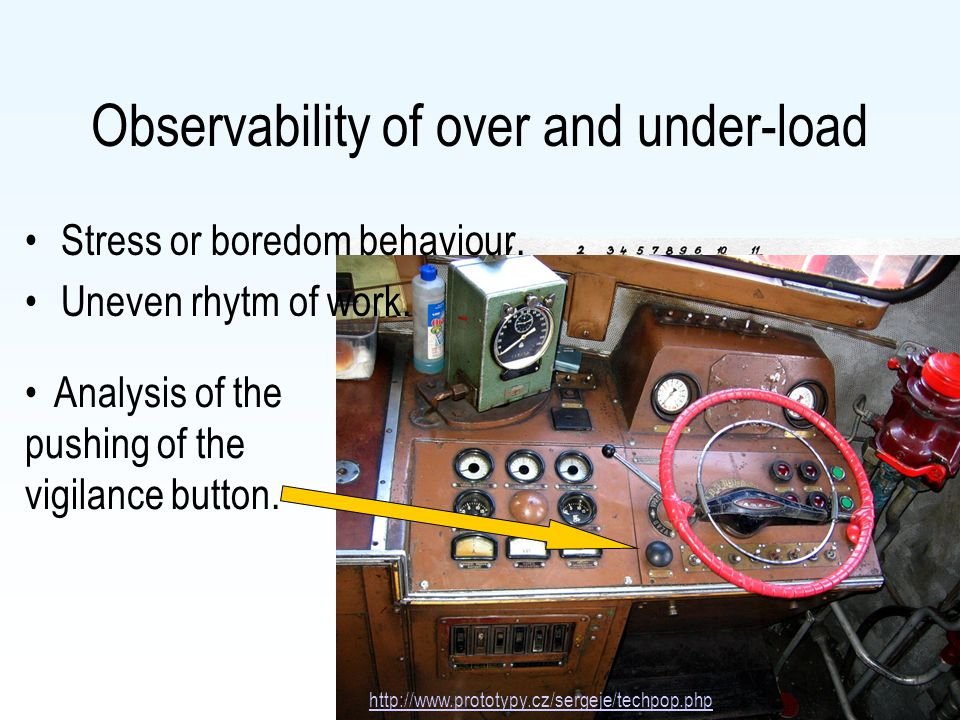 Observability of over and under-load Stress or boredom behaviour. Uneven rhytm of work. http://www.prototypy.cz/sergeje/techpop.php Analysis of the pu