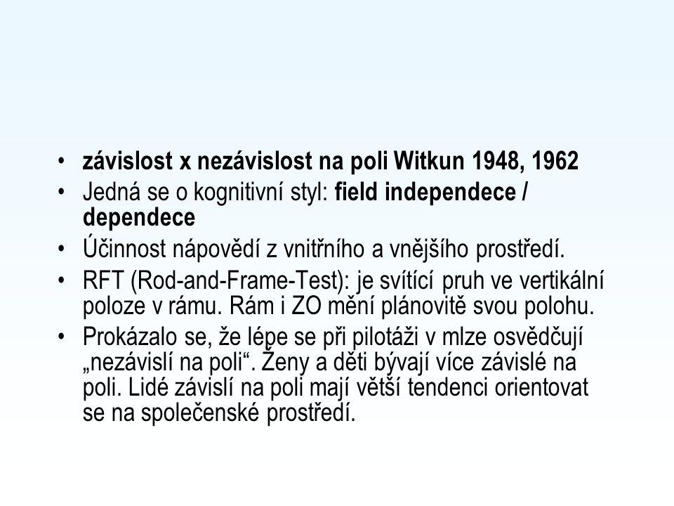 závislost x nezávislost na poli Witkun 1948, 1962 Jedná se o kognitivní styl: field independece / dependece Účinnost nápovědí z vnitřního a vnějšího prostředí.