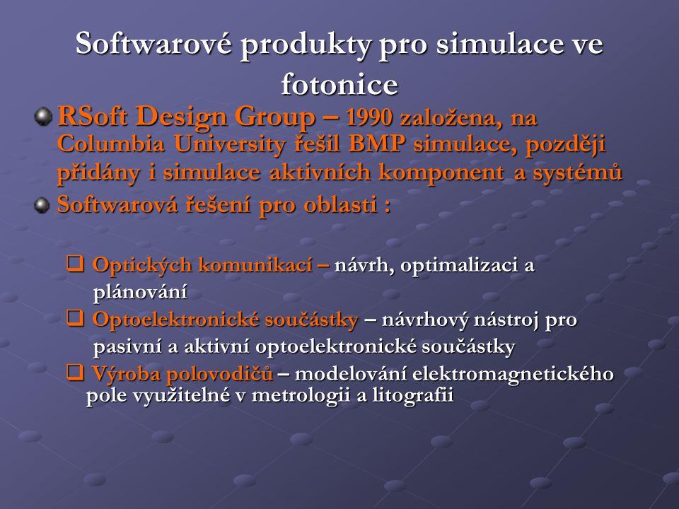 Softwarové produkty pro simulace ve fotonice RSoft Design Group – 1990 založena, na Columbia University řešil BMP simulace, později přidány i simulace