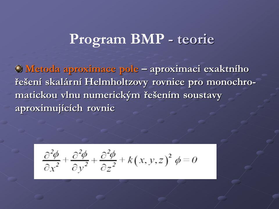 - teorie Program BMP - teorie Metoda aproximace pole – aproximaci exaktního řešení skalární Helmholtzovy rovnice pro monochro- matickou vlnu numerický