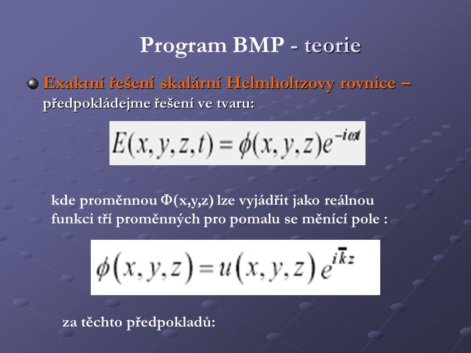- teorie Program BMP - teorie Exaktní řešení skalární Helmholtzovy rovnice – předpokládejme řešení ve tvaru: kde proměnnou  x,y,z) lze vyjádřit jako