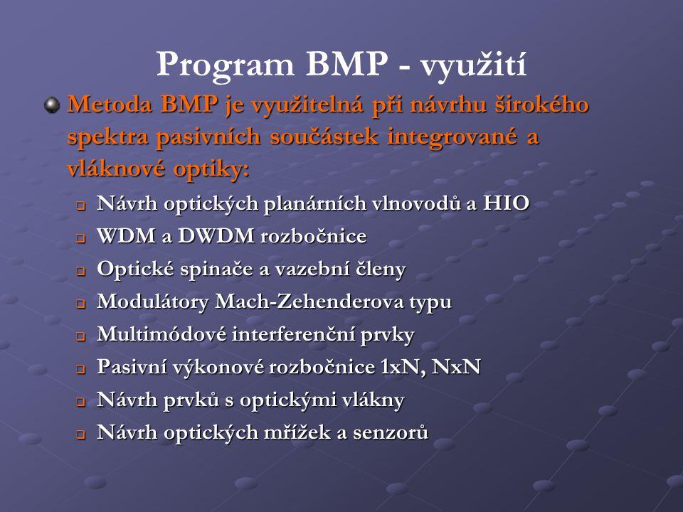 Program BMP - využití Metoda BMP je využitelná při návrhu širokého spektra pasivních součástek integrované a vláknové optiky:  Návrh optických planár