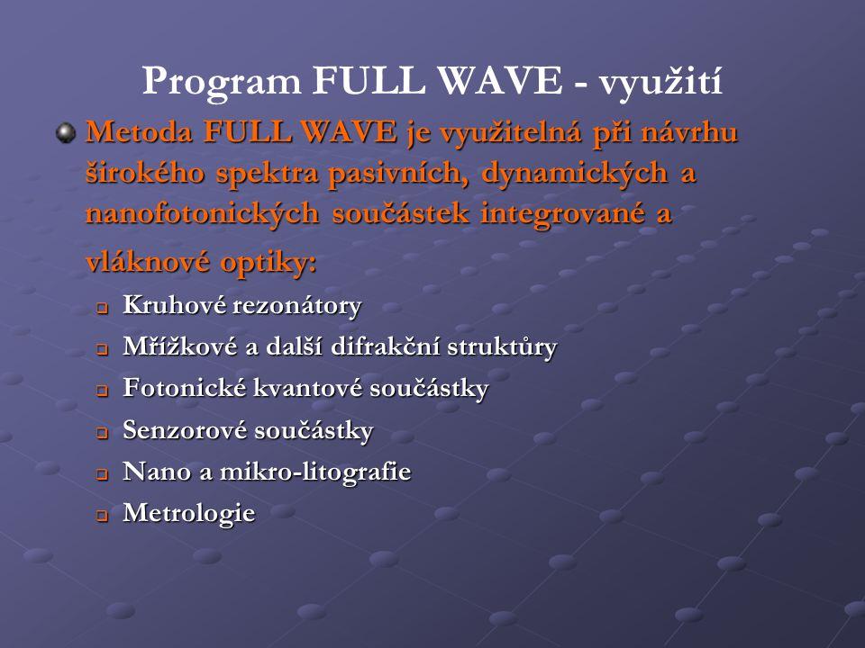 Program FULL WAVE - využití Metoda FULL WAVE je využitelná při návrhu širokého spektra pasivních, dynamických a nanofotonických součástek integrované