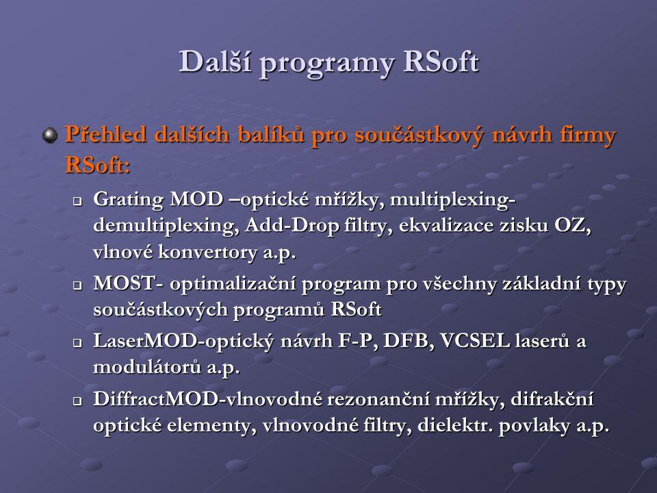 Další programy RSoft Přehled dalších balíků pro součástkový návrh firmy RSoft:  Grating MOD –optické mřížky, multiplexing- demultiplexing, Add-Drop f