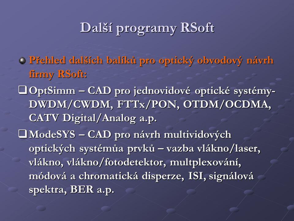 Další programy RSoft Přehled dalších balíků pro optický obvodový návrh firmy RSoft:  OptSimm – CAD pro jednovidové optické systémy- DWDM/CWDM, FTTx/P