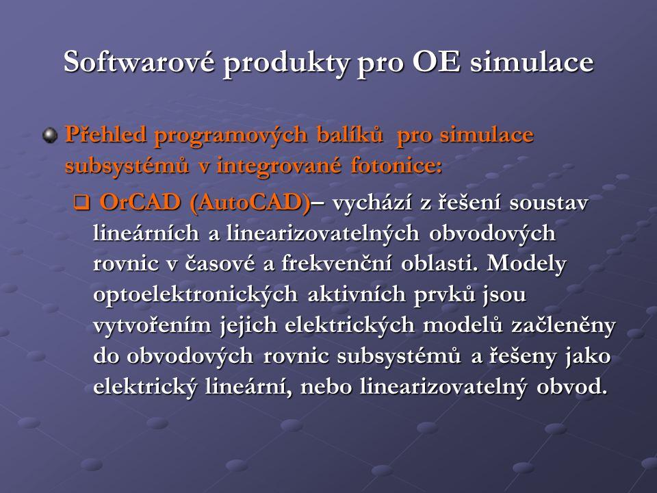 Softwarové produkty pro OE simulace Přehled programových balíků pro simulace subsystémů v integrované fotonice:  OrCAD (AutoCAD)– vychází z řešení so