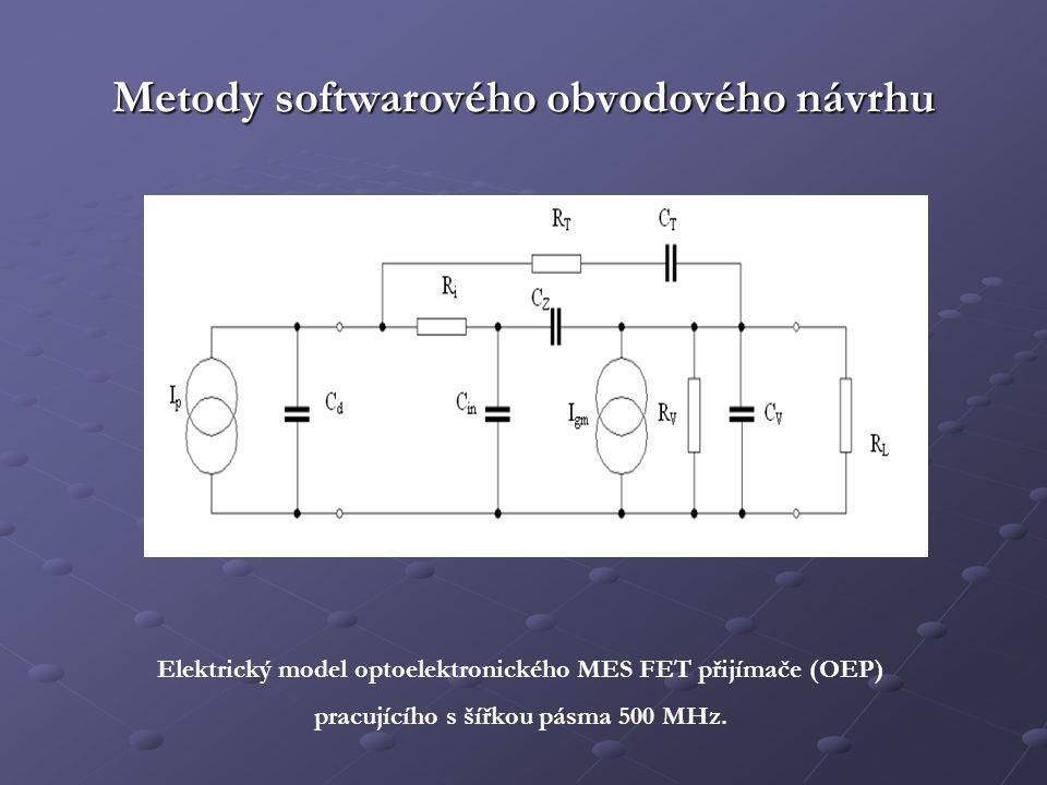 Metody softwarového obvodového návrhu Elektrický model optoelektronického MES FET přijímače (OEP) pracujícího s šířkou pásma 500 MHz.