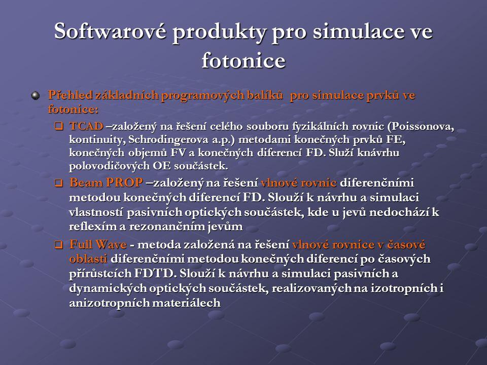 Softwarové produkty pro simulace ve fotonice Přehled základních programových balíků pro simulace prvků ve fotonice:  TCAD –založený na řešení celého