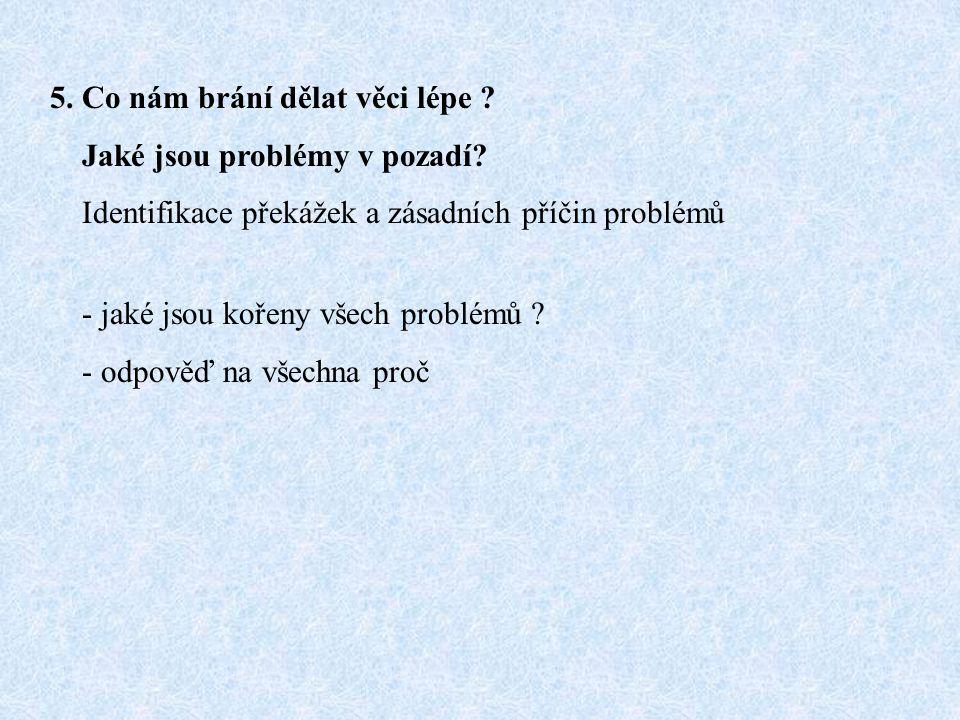 5. Co nám brání dělat věci lépe ? Jaké jsou problémy v pozadí? Identifikace překážek a zásadních příčin problémů - jaké jsou kořeny všech problémů ? -
