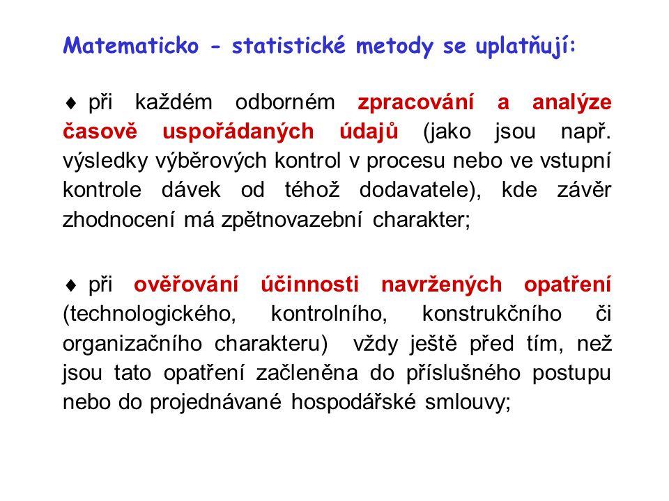  při každém odborném zpracování a analýze časově uspořádaných údajů (jako jsou např. výsledky výběrových kontrol v procesu nebo ve vstupní kontrole d
