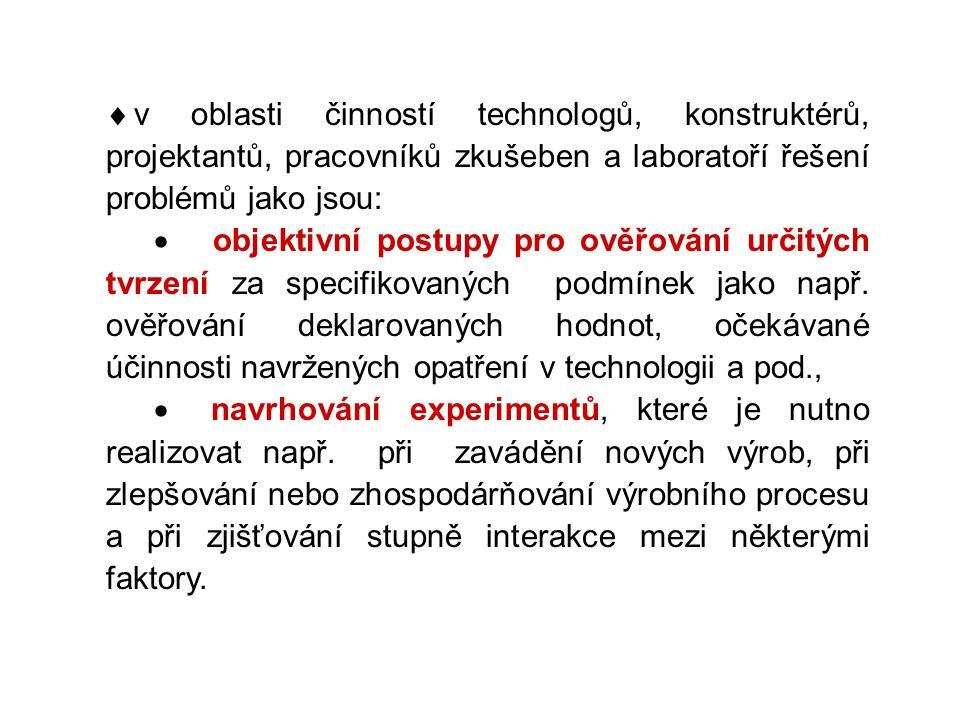  v oblasti činností technologů, konstruktérů, projektantů, pracovníků zkušeben a laboratoří řešení problémů jako jsou:  objektivní postupy pro ověřo