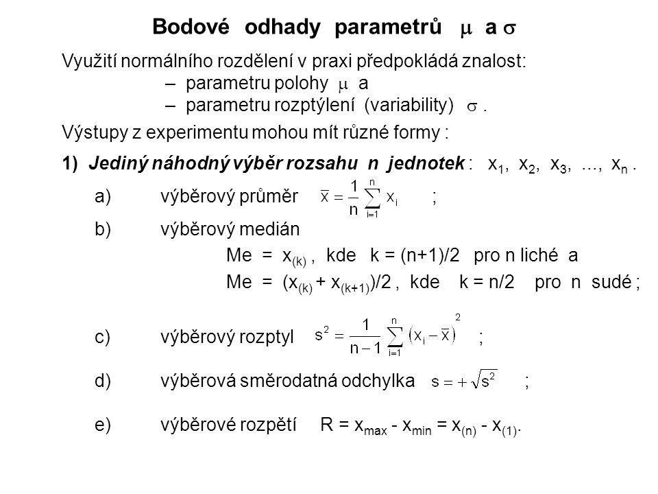 Bodové odhady parametrů  a  Využití normálního rozdělení v praxi předpokládá znalost: – parametru polohy  a – parametru rozptýlení (variability) .