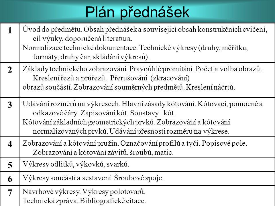 Plán přednášek 1 Úvod do předmětu. Obsah přednášek a související obsah konstrukčních cvičení, cíl výuky, doporučená literatura. Normalizace technické