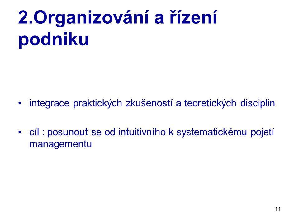 11 2.Organizování a řízení podniku integrace praktických zkušeností a teoretických disciplin cíl : posunout se od intuitivního k systematickému pojetí managementu