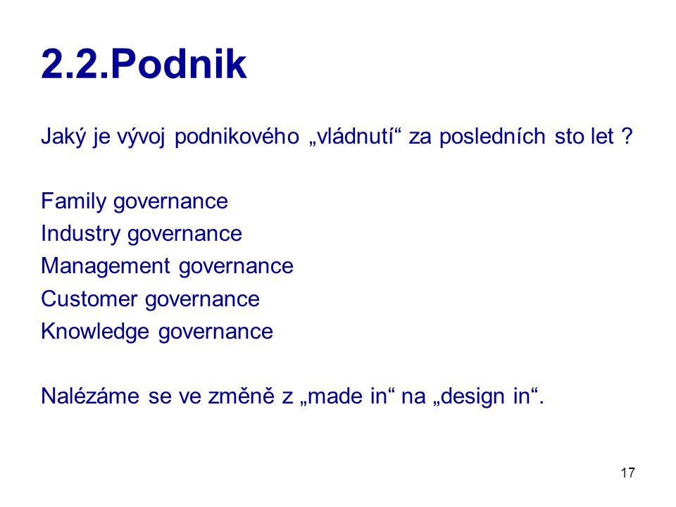 """17 2.2.Podnik Jaký je vývoj podnikového """"vládnutí"""" za posledních sto let ? Family governance Industry governance Management governance Customer govern"""