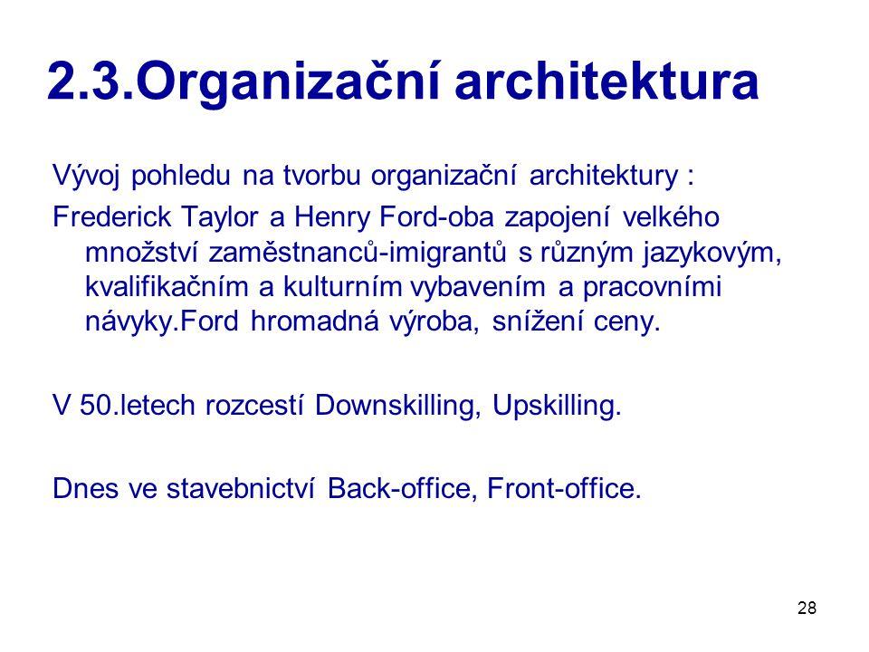 28 2.3.Organizační architektura Vývoj pohledu na tvorbu organizační architektury : Frederick Taylor a Henry Ford-oba zapojení velkého množství zaměstnanců-imigrantů s různým jazykovým, kvalifikačním a kulturním vybavením a pracovními návyky.Ford hromadná výroba, snížení ceny.