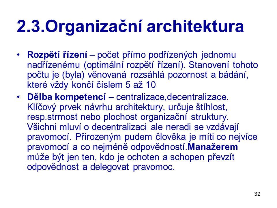 32 2.3.Organizační architektura Rozpětí řízení – počet přímo podřízených jednomu nadřízenému (optimální rozpětí řízení). Stanovení tohoto počtu je (by