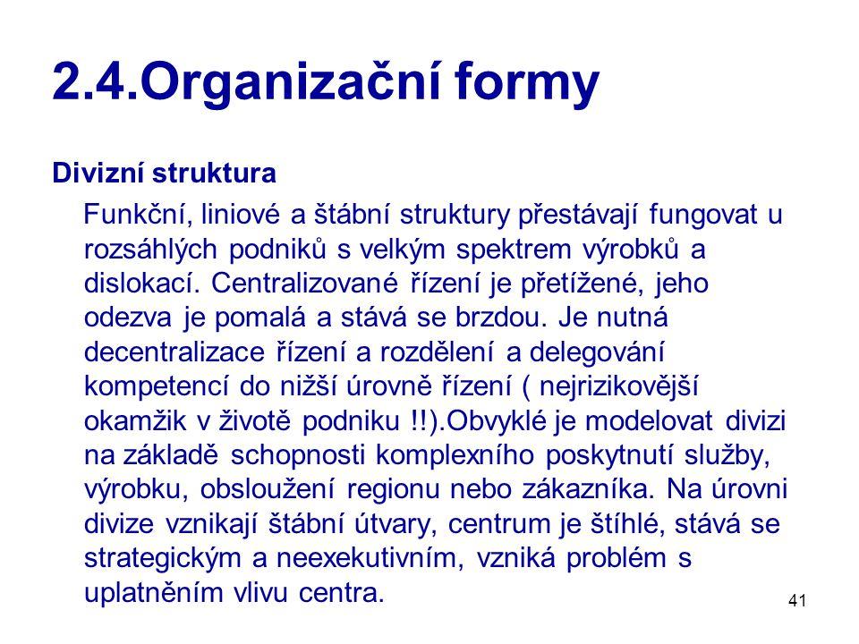 41 2.4.Organizační formy Divizní struktura Funkční, liniové a štábní struktury přestávají fungovat u rozsáhlých podniků s velkým spektrem výrobků a dislokací.