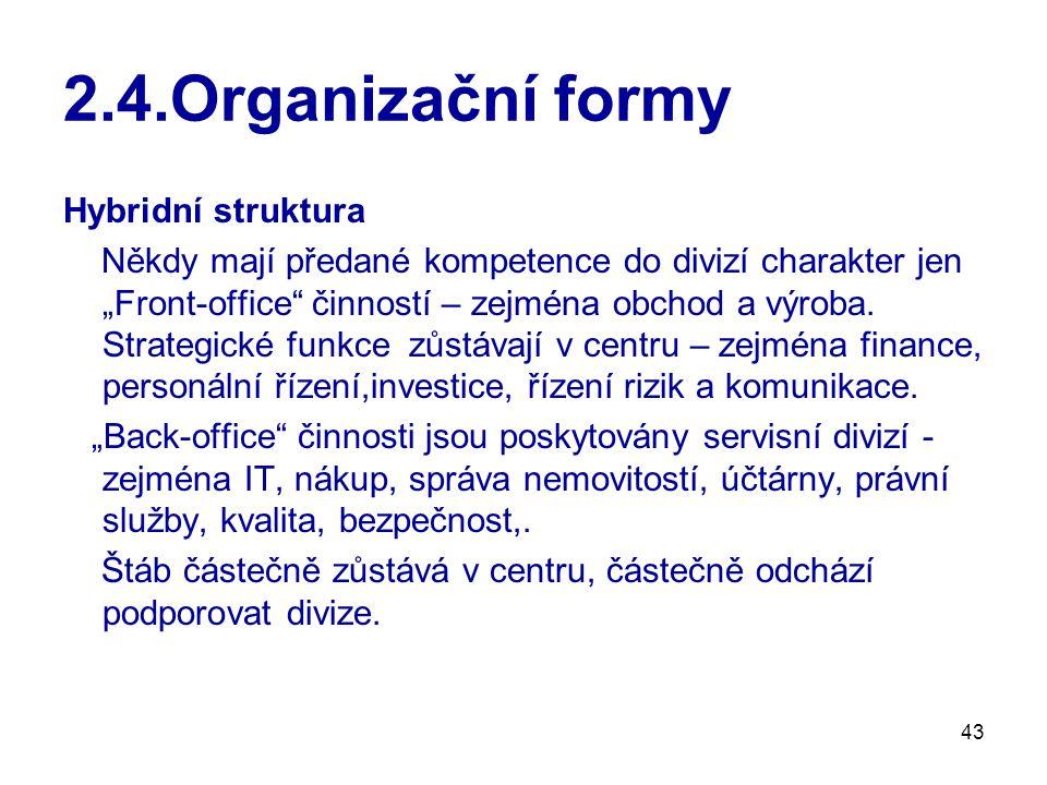 """43 2.4.Organizační formy Hybridní struktura Někdy mají předané kompetence do divizí charakter jen """"Front-office činností – zejména obchod a výroba."""
