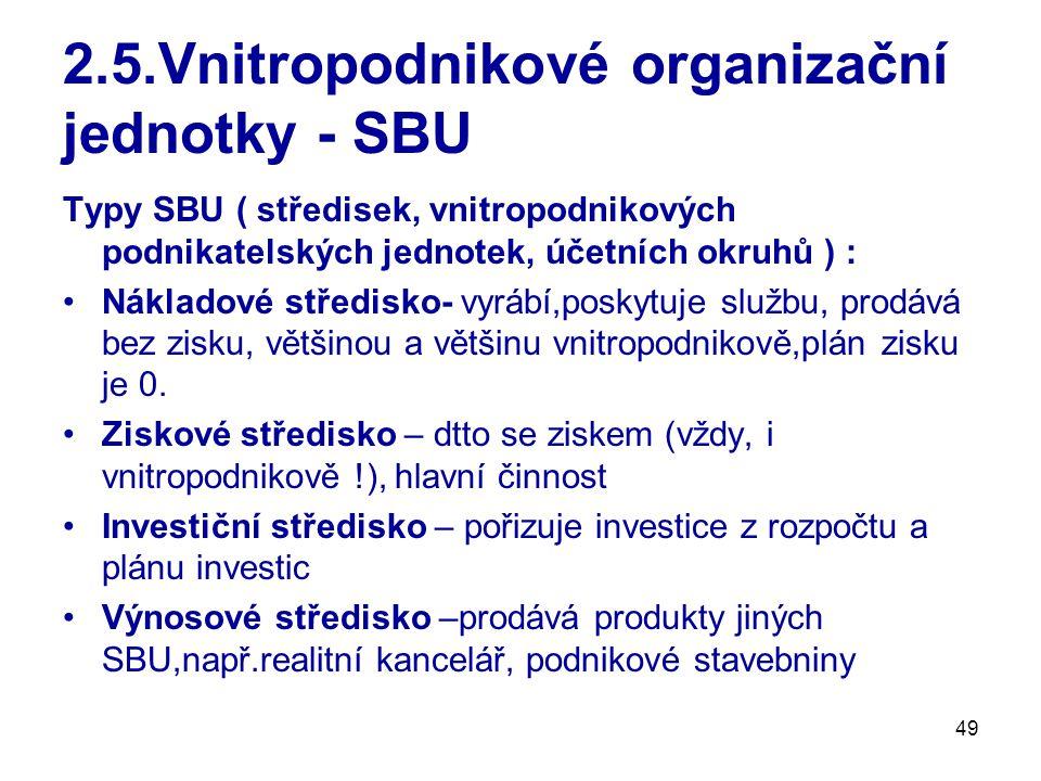 49 2.5.Vnitropodnikové organizační jednotky - SBU Typy SBU ( středisek, vnitropodnikových podnikatelských jednotek, účetních okruhů ) : Nákladové středisko- vyrábí,poskytuje službu, prodává bez zisku, většinou a většinu vnitropodnikově,plán zisku je 0.