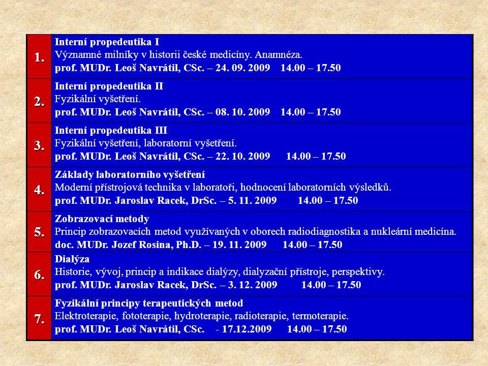 1. Interní propedeutika I Významné milníky v historii české medicíny. Anamnéza. prof. MUDr. Leoš Navrátil, CSc. – 24. 09. 2009 14.00 – 17.502. Interní