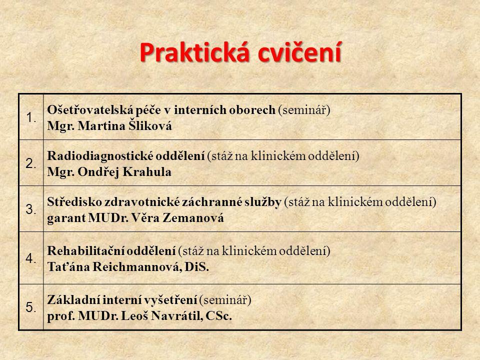 1. Ošetřovatelská péče v interních oborech (seminář) Mgr. Martina Šliková 2. Radiodiagnostické oddělení (stáž na klinickém oddělení) Mgr. Ondřej Krahu