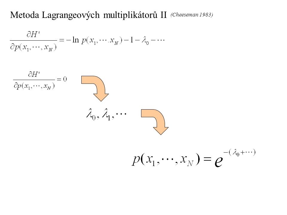 Metoda Lagrangeových multiplikátorů II (Cheeseman 1983)