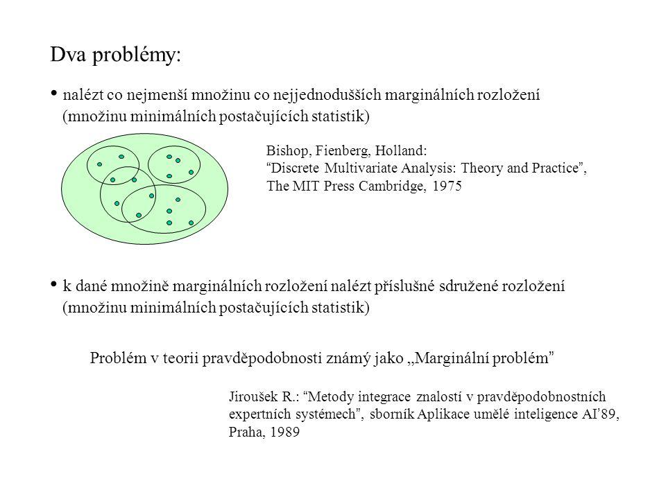"""Dva problémy: nalézt co nejmenší množinu co nejjednodušších marginálních rozložení (množinu minimálních postačujících statistik) Bishop, Fienberg, Holland: Discrete Multivariate Analysis: Theory and Practice , The MIT Press Cambridge, 1975 k dané množině marginálních rozložení nalézt příslušné sdružené rozložení (množinu minimálních postačujících statistik) Problém v teorii pravděpodobnosti známý jako """"Marginální problém Jiroušek R.: Metody integrace znalostí v pravděpodobnostních expertních systémech , sborník Aplikace umělé inteligence AI ' 89, Praha, 1989"""