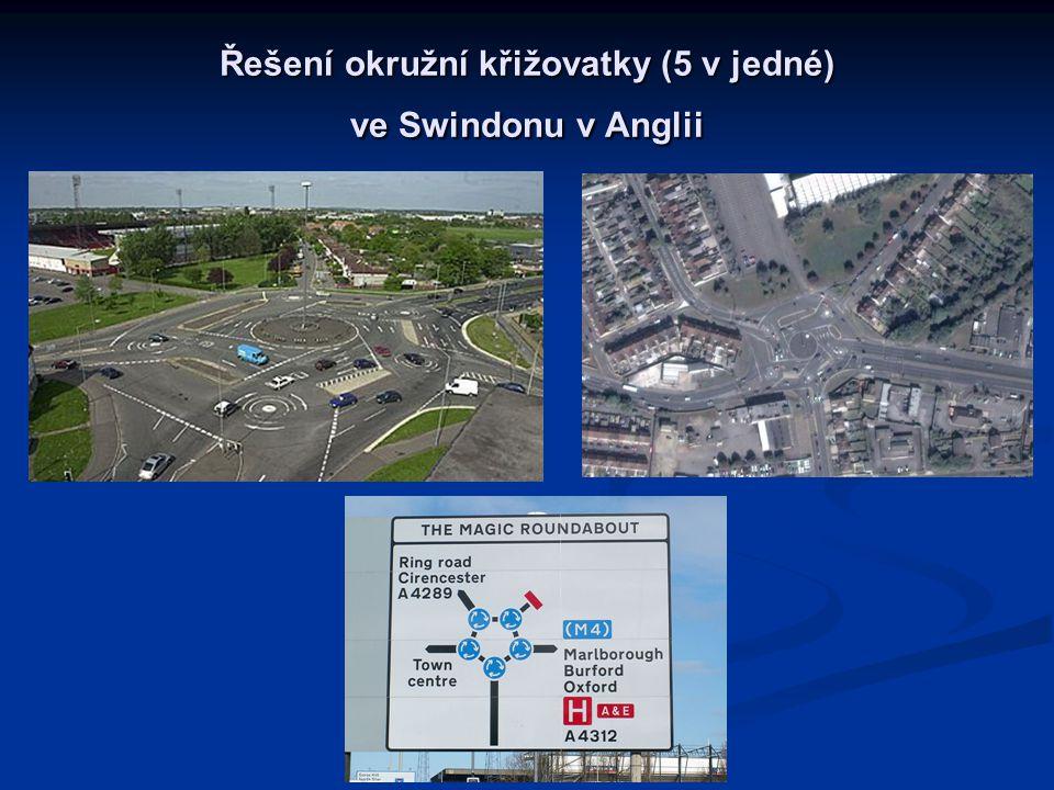 Řešení okružní křižovatky (5 v jedné) ve Swindonu v Anglii