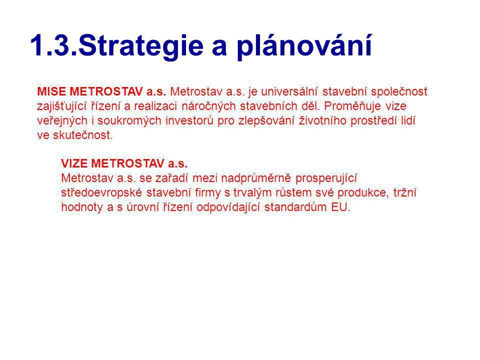 1.3.Strategie a plánování MISE METROSTAV a.s. Metrostav a.s. je universální stavební společnost zajišťující řízení a realizaci náročných stavebních dě