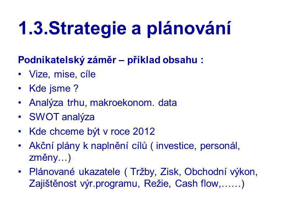 1.3.Strategie a plánování Podnikatelský záměr – příklad obsahu : Vize, mise, cíle Kde jsme ? Analýza trhu, makroekonom. data SWOT analýza Kde chceme b