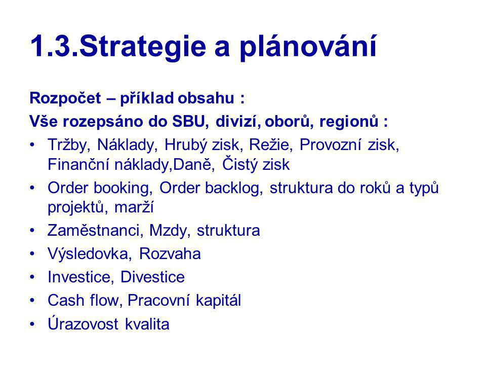 1.3.Strategie a plánování Rozpočet – příklad obsahu : Vše rozepsáno do SBU, divizí, oborů, regionů : Tržby, Náklady, Hrubý zisk, Režie, Provozní zisk,