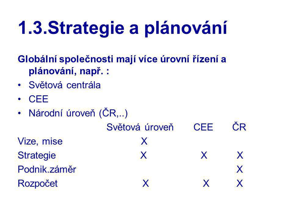 1.3.Strategie a plánování Globální společnosti mají více úrovní řízení a plánování, např. : Světová centrála CEE Národní úroveň (ČR,..) Světová úroveň
