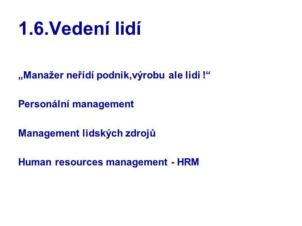 """1.6.Vedení lidí """"Manažer neřídí podnik,výrobu ale lidi !"""" Personální management Management lidských zdrojů Human resources management - HRM"""