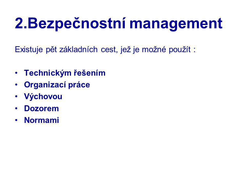 2.Bezpečnostní management Existuje pět základních cest, jež je možné použít : Technickým řešením Organizací práce Výchovou Dozorem Normami