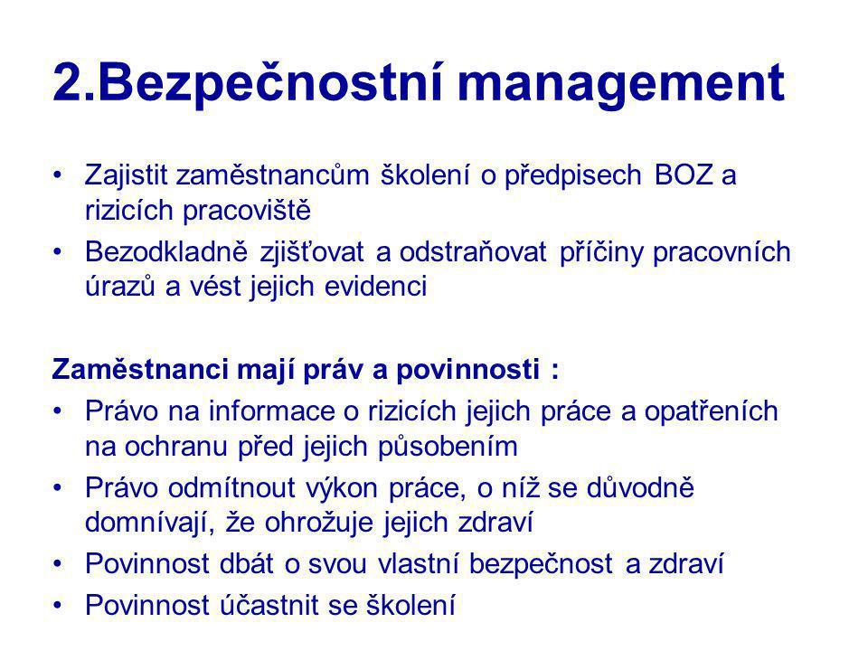 2.Bezpečnostní management Zajistit zaměstnancům školení o předpisech BOZ a rizicích pracoviště Bezodkladně zjišťovat a odstraňovat příčiny pracovních