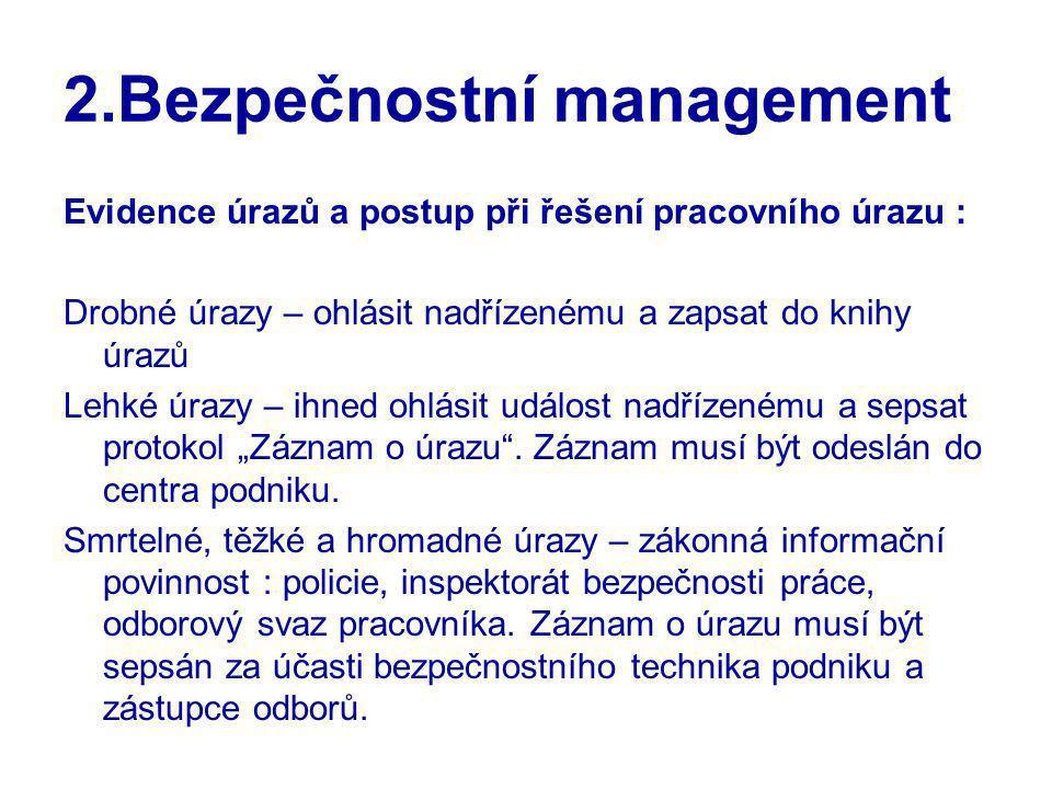 2.Bezpečnostní management Evidence úrazů a postup při řešení pracovního úrazu : Drobné úrazy – ohlásit nadřízenému a zapsat do knihy úrazů Lehké úrazy